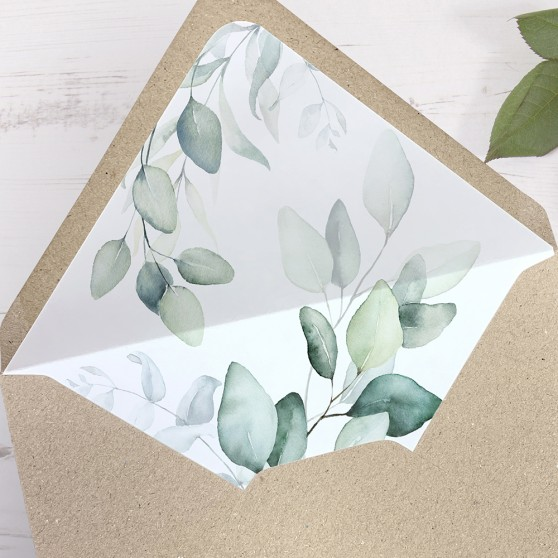 'DE10 Dreamy Eucalyptus' Printed Envelope Liner with Envelope