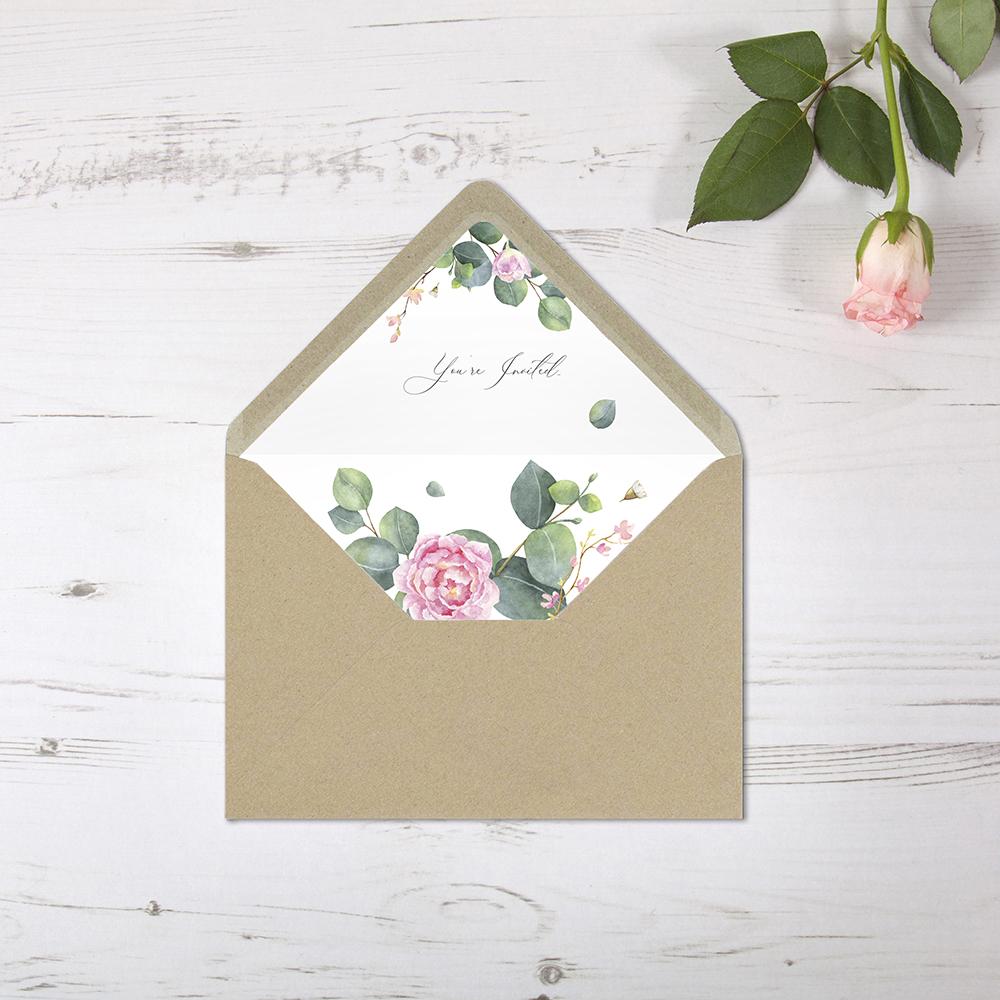 'Eucalyptus Blush' Printed Envelope Liner Sample with Envelope