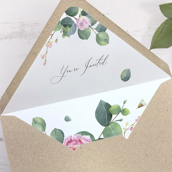'Eucalyptus Blush' Printed Envelope Liner Sample with Envelope