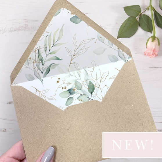 'Green & Gold Eucalyptus' Printed Envelope Liner with Envelope