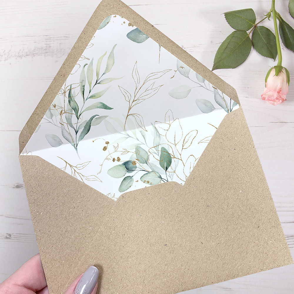 'Green & Gold Eucalyptus EG10' Sleeve Invite