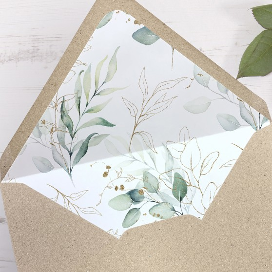 'Green & Gold Eucalyptus' Printed Envelope Liner Sample with Envelope