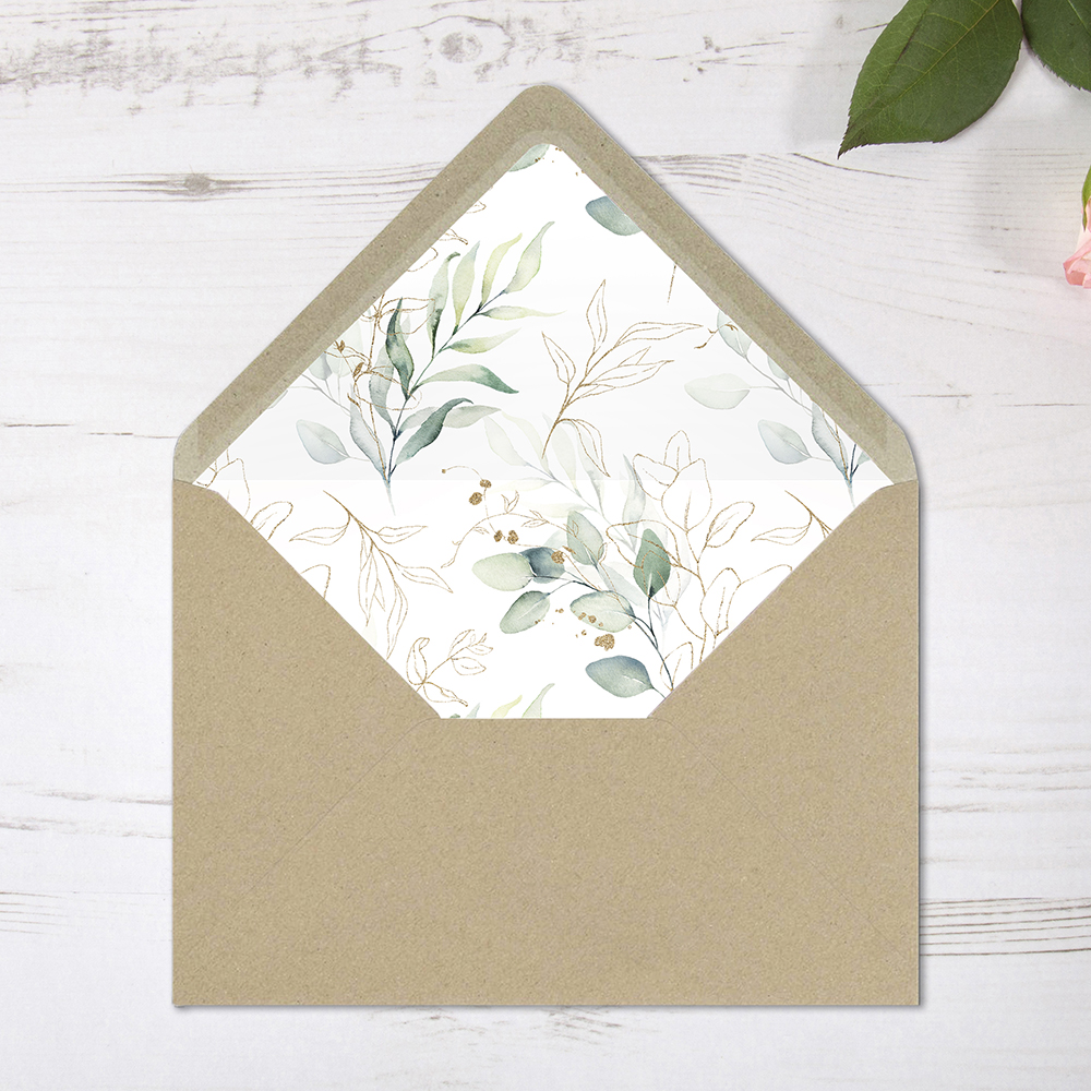 'Green & Gold Eucalyptus' Printed Envelope Liner Sample with Envelope