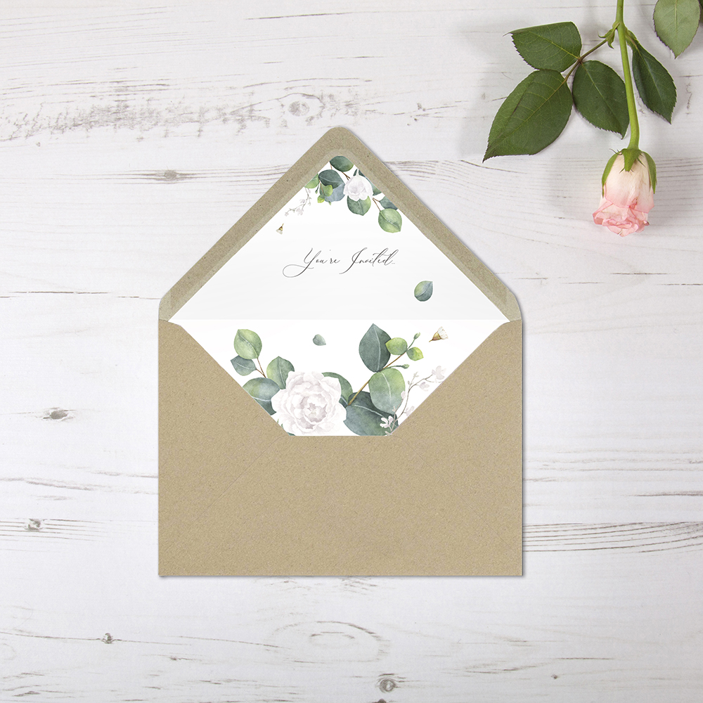 'Eucalyptus White' Printed Envelope Liner Sample with Envelope
