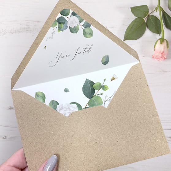 'Eucalyptus White' Printed Envelope Liner with Envelope