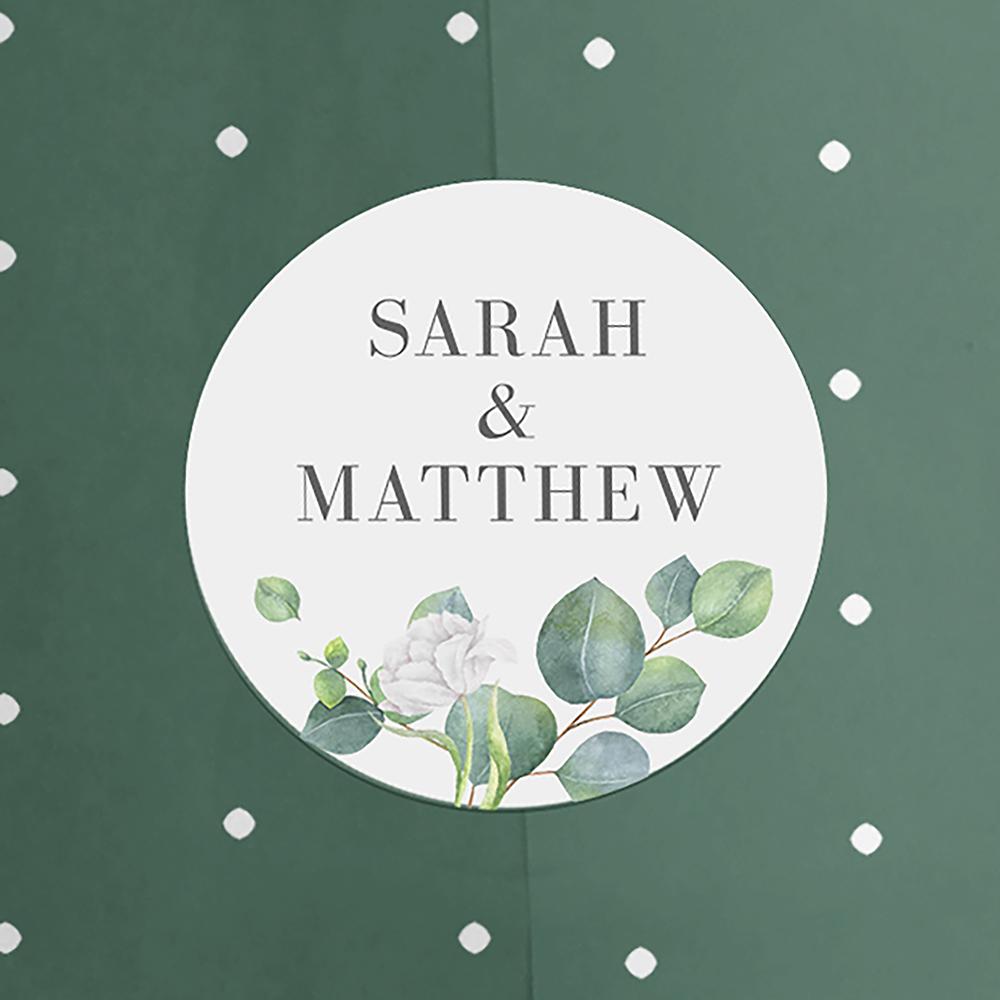 'Eucalyptus White' Sleeve Invite