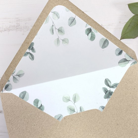 'Eucalyptus' Printed Envelope Liner with Envelope