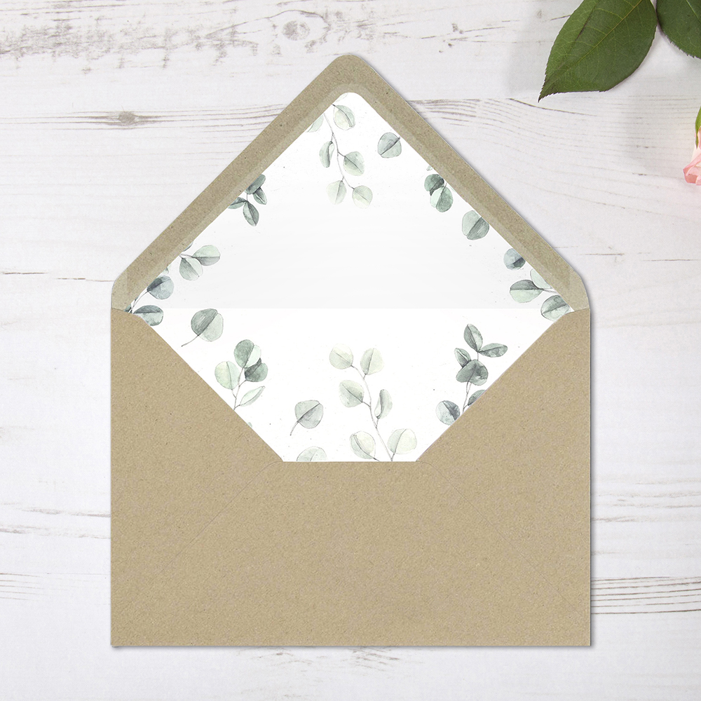 'Eucalyptus' Printed Envelope Liner Sample with Envelope