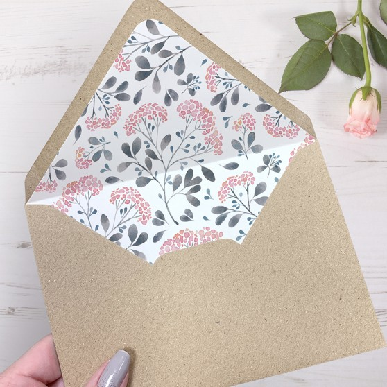 'Felicity' Printed Envelope Liner Sample with Envelope