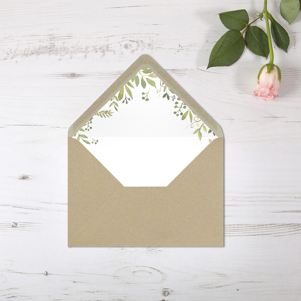 'Green Floral Watercolour' Printed Envelope Liner Sample with Envelope