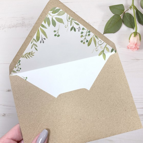 'Green Floral Watercolour' Printed Envelope Liner with Envelope