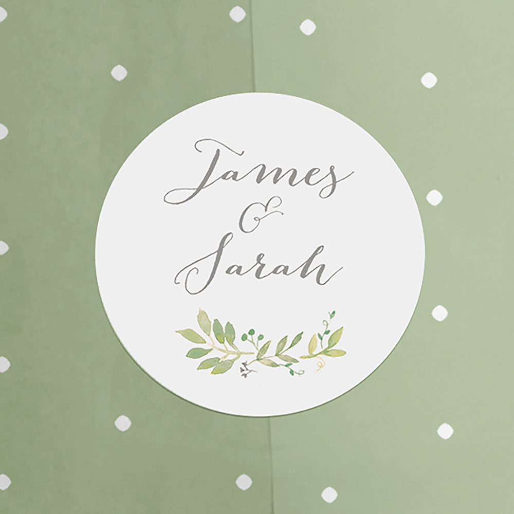 'Green Floral Watercolour' Folded Invite