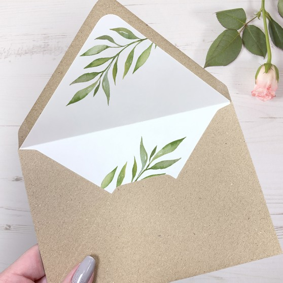 'Green Leaf' Printed Envelope Liner Sample with Envelope