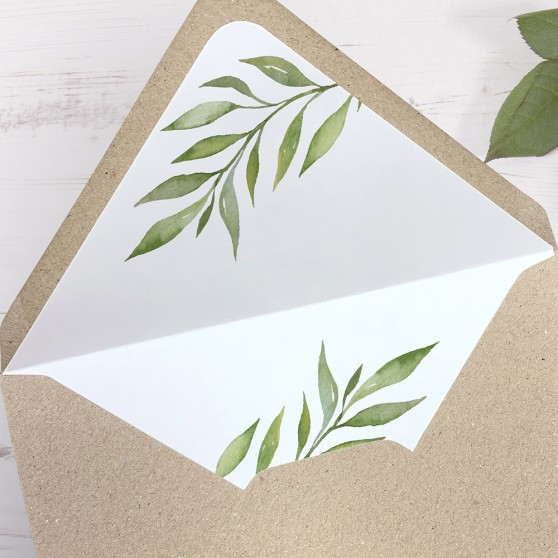 'Green Leaf' Printed Envelope Liner with Envelope