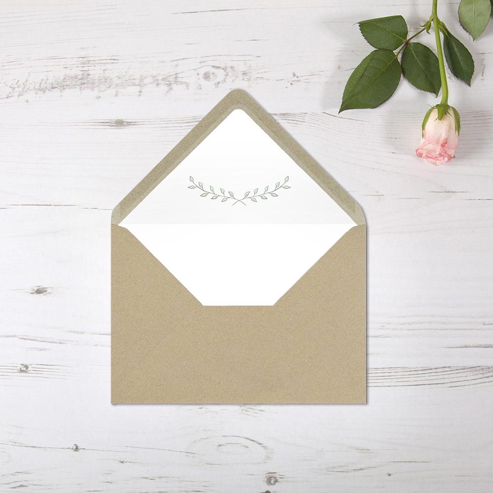 'Green Plant' Printed Envelope Liner Sample with Envelope