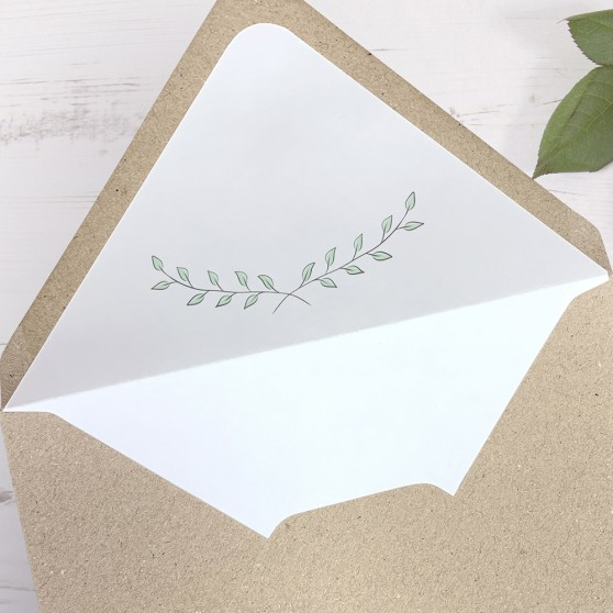 'Green Plant' Printed Envelope Liner with Envelope
