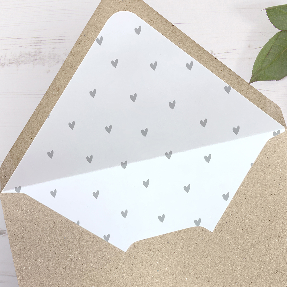 'Grey Heart' Printed Envelope Liner with Envelope