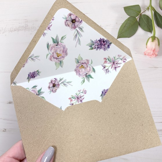 'Henrietta Dawn' Printed Envelope Liner Sample with Envelope