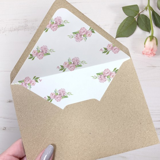 'Hydrangea' Printed Envelope Liner Sample with Envelope