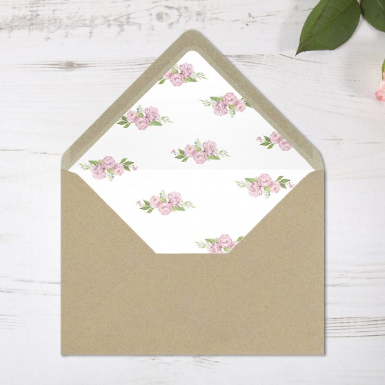 'Hydrangea' Printed Envelope Liner with Envelope