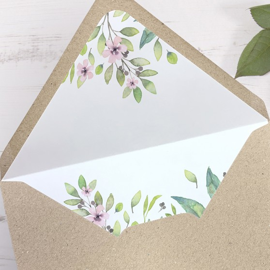 'Imogen Floral' Printed Envelope Liner with Envelope