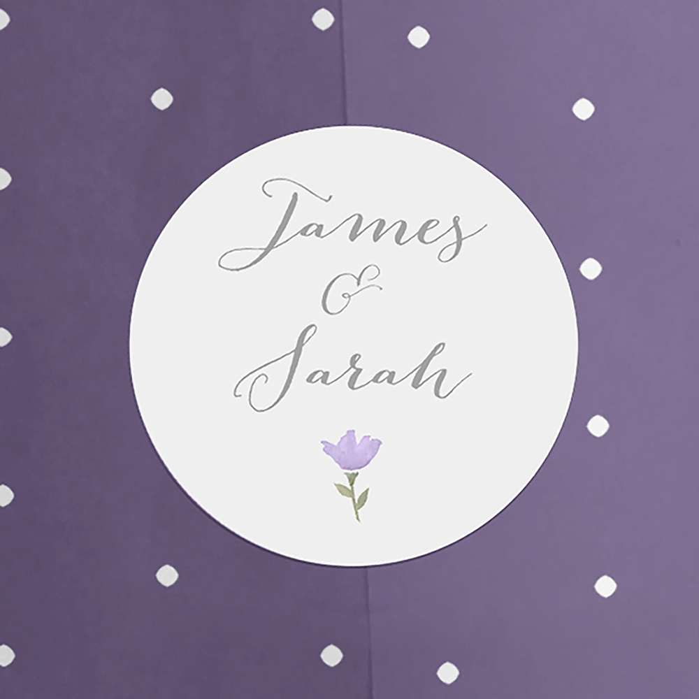 'Lavender Floral' Folded Invitation Sample