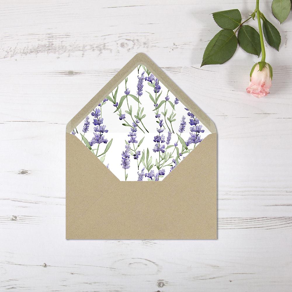 'Lavender' Printed Envelope Liner Sample with Envelope