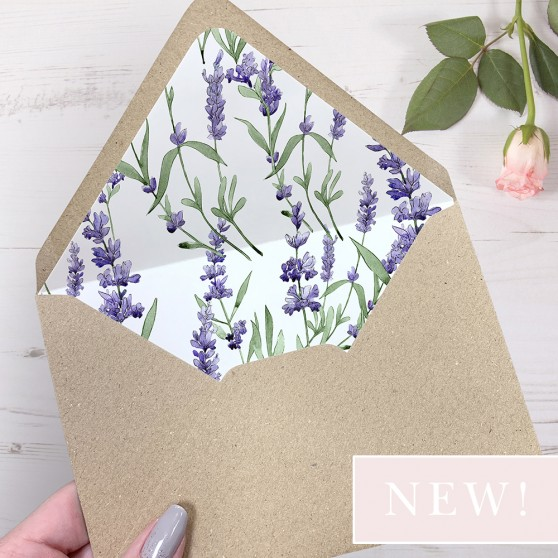 'Lavender' Printed Envelope Liner with Envelope