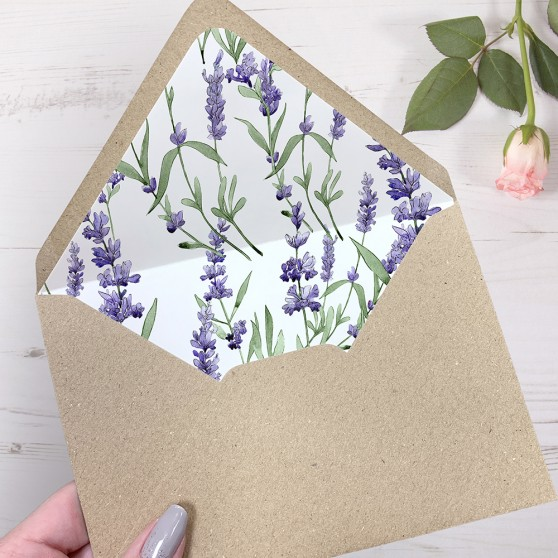 'Lavender' Printed Envelope Liner Sample with Envelope