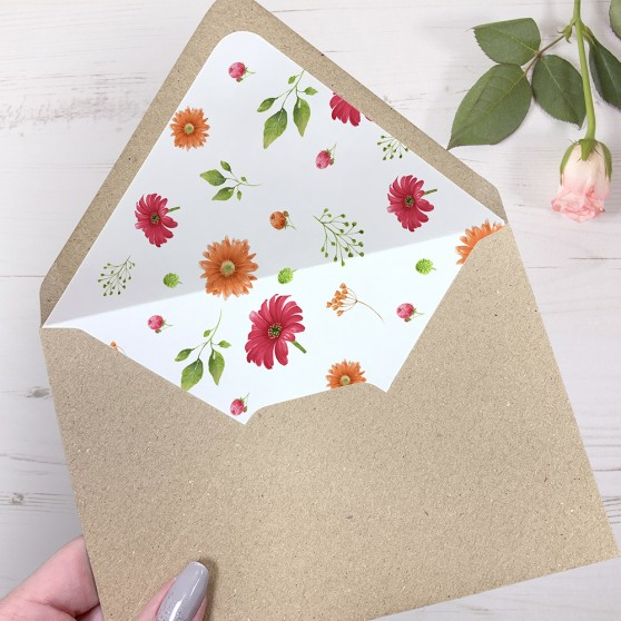 'Matilda' Printed Envelope Liner with Envelope