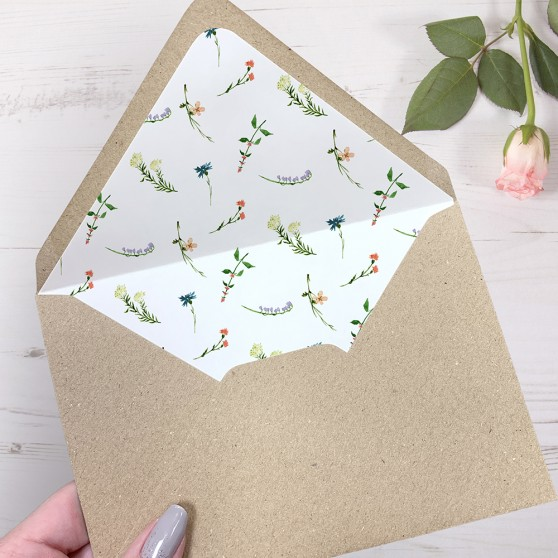 'Meadow Floral' Printed Envelope Liner with Envelope