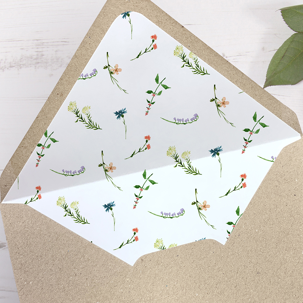 'Meadow Floral' Printed Envelope Liner Sample with Envelope