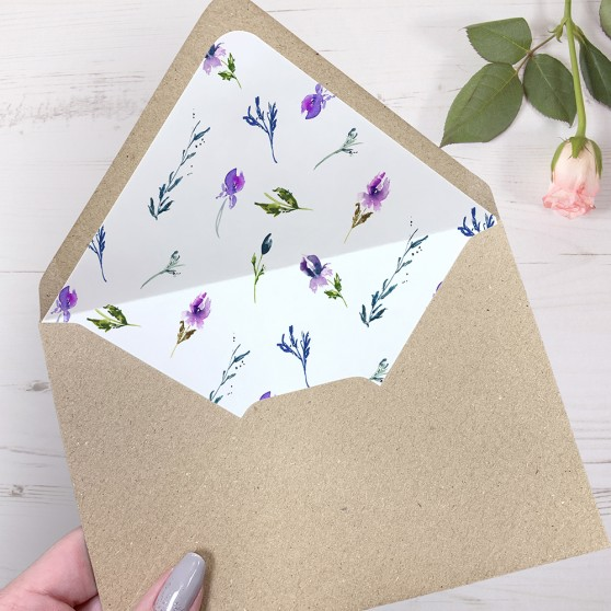 'Midnight Iris' Printed Envelope Liner Sample with Envelope