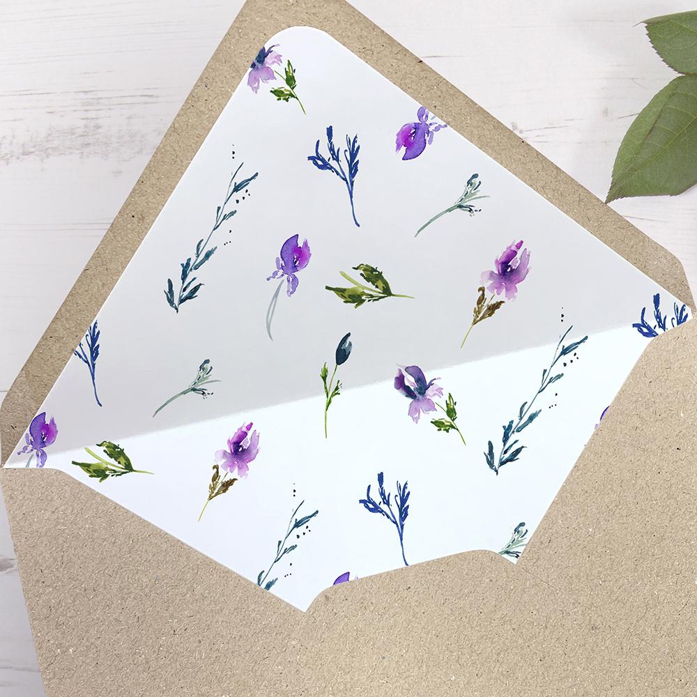 'Midnight Iris' Printed Envelope Liner Sample with Envelope