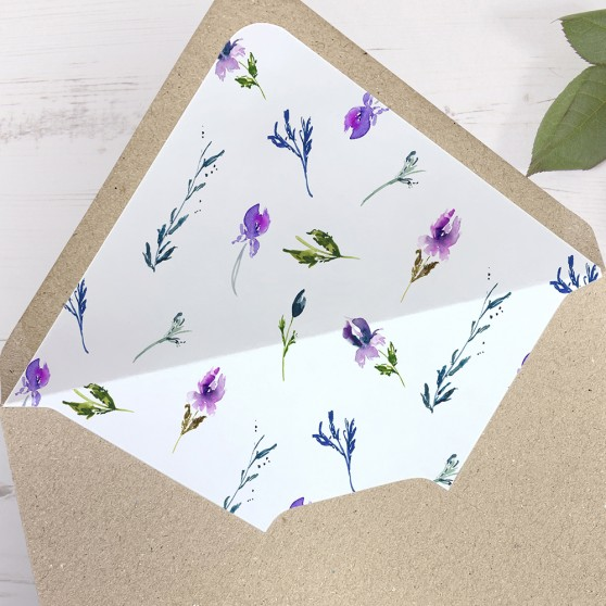 'Midnight Iris' Printed Envelope Liner with Envelope