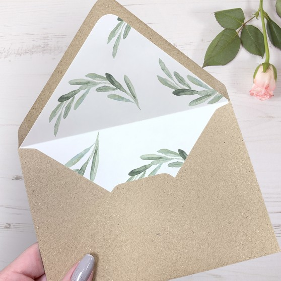 'Olive Pattern' Printed Envelope Liner Sample with Envelope