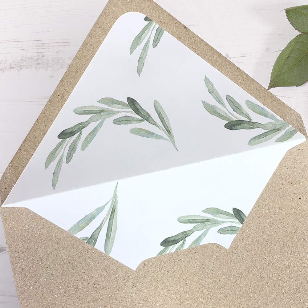 'Olive Pattern' Printed Envelope Liner with Envelope