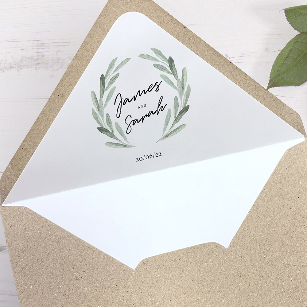 'Olive' Printed Envelope Liner Sample with Envelope