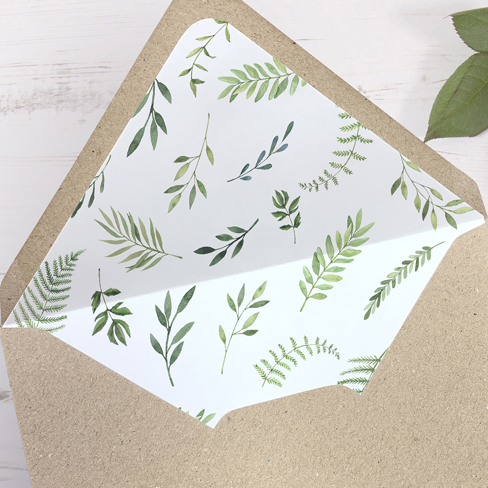 'Ophelia' Printed Envelope Liner Sample with Envelope