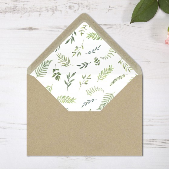 'Ophelia' Printed Envelope Liner with Envelope