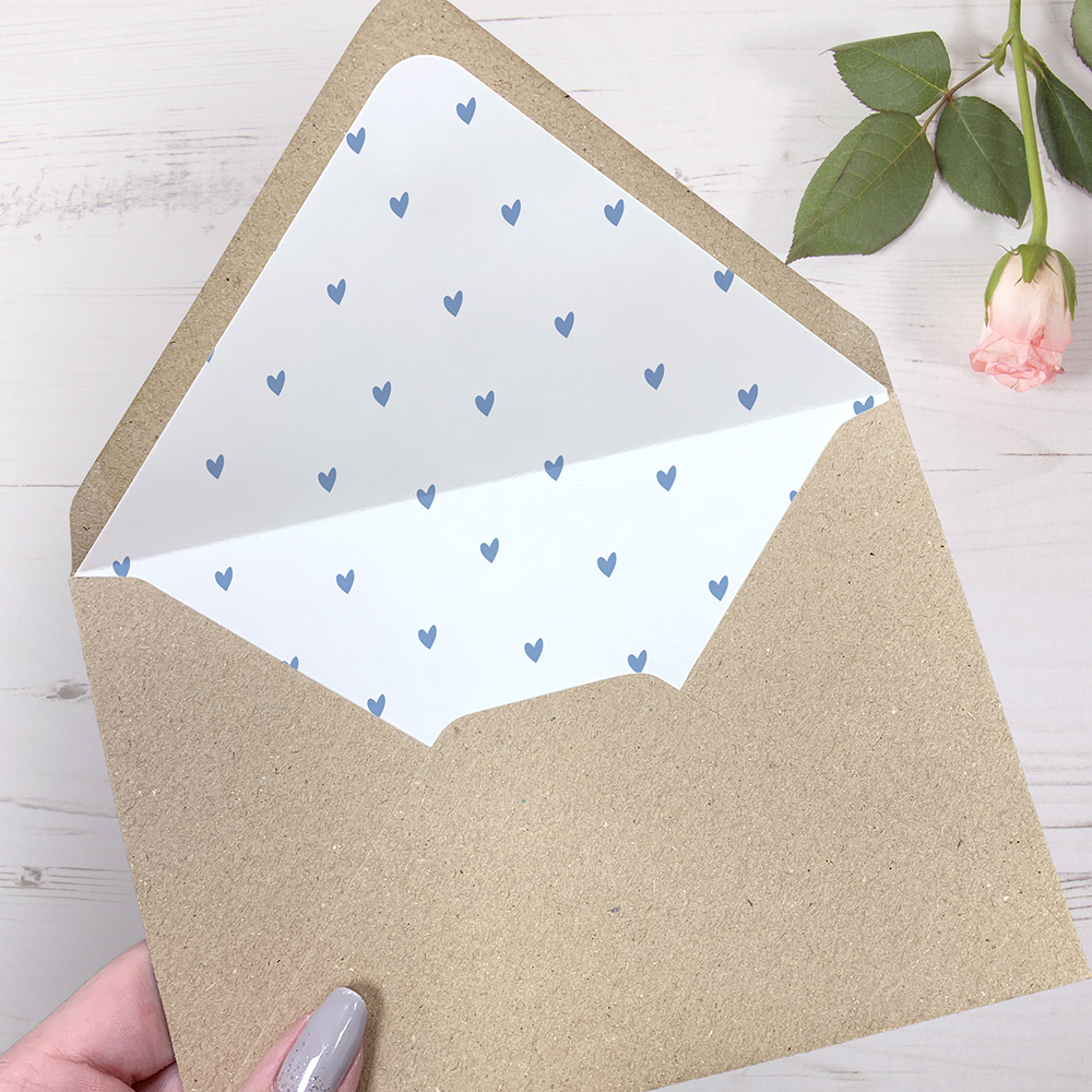 'Pale Blue Heart Bunting' Hole-punched Invite Sample