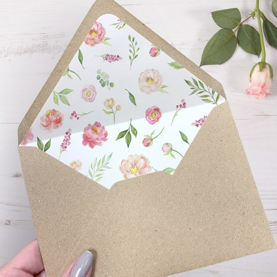 'Peony' Printed Envelope Liner Sample with Envelope