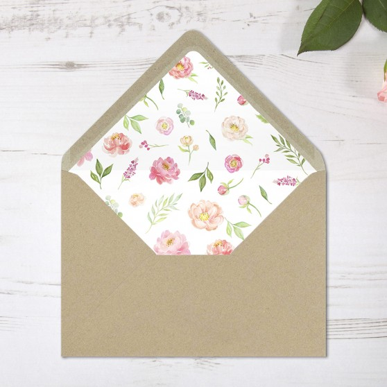 'Peony' Printed Envelope Liner with Envelope