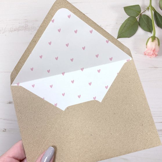'Pink Heart' Printed Envelope Liner Sample with Envelope