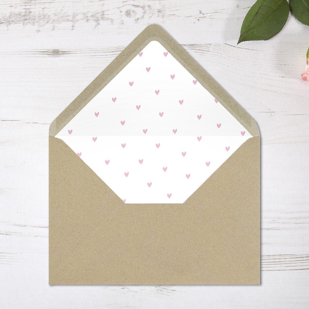 'Pink Heart' Printed Envelope Liner Sample with Envelope