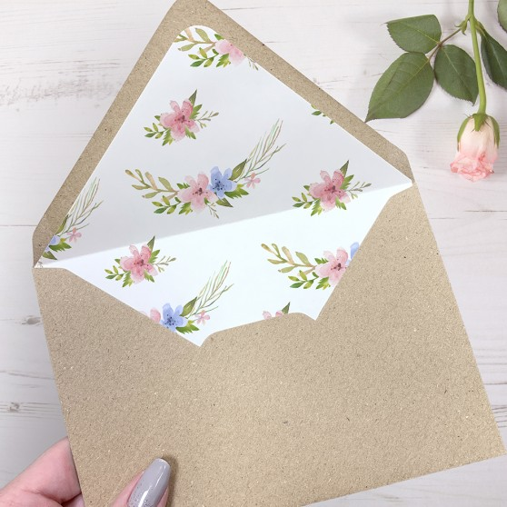 'Pretty in Blue & Pink' Printed Envelope Liner with Envelope