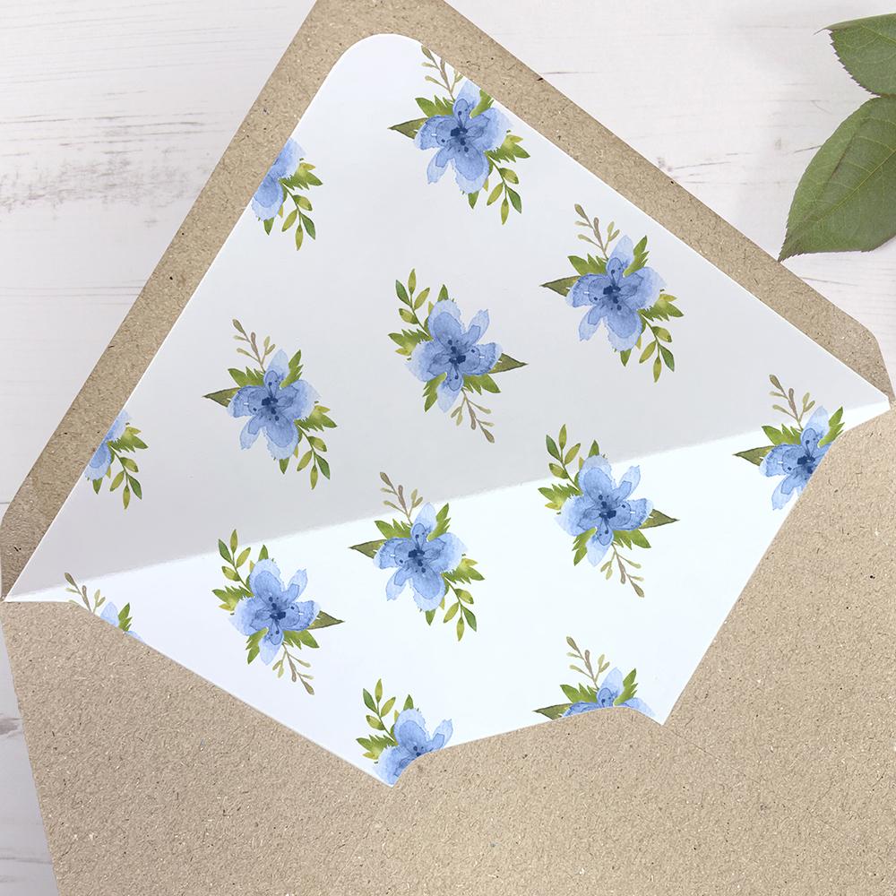 'Pretty in Blue' Printed Envelope Liner Sample with Envelope