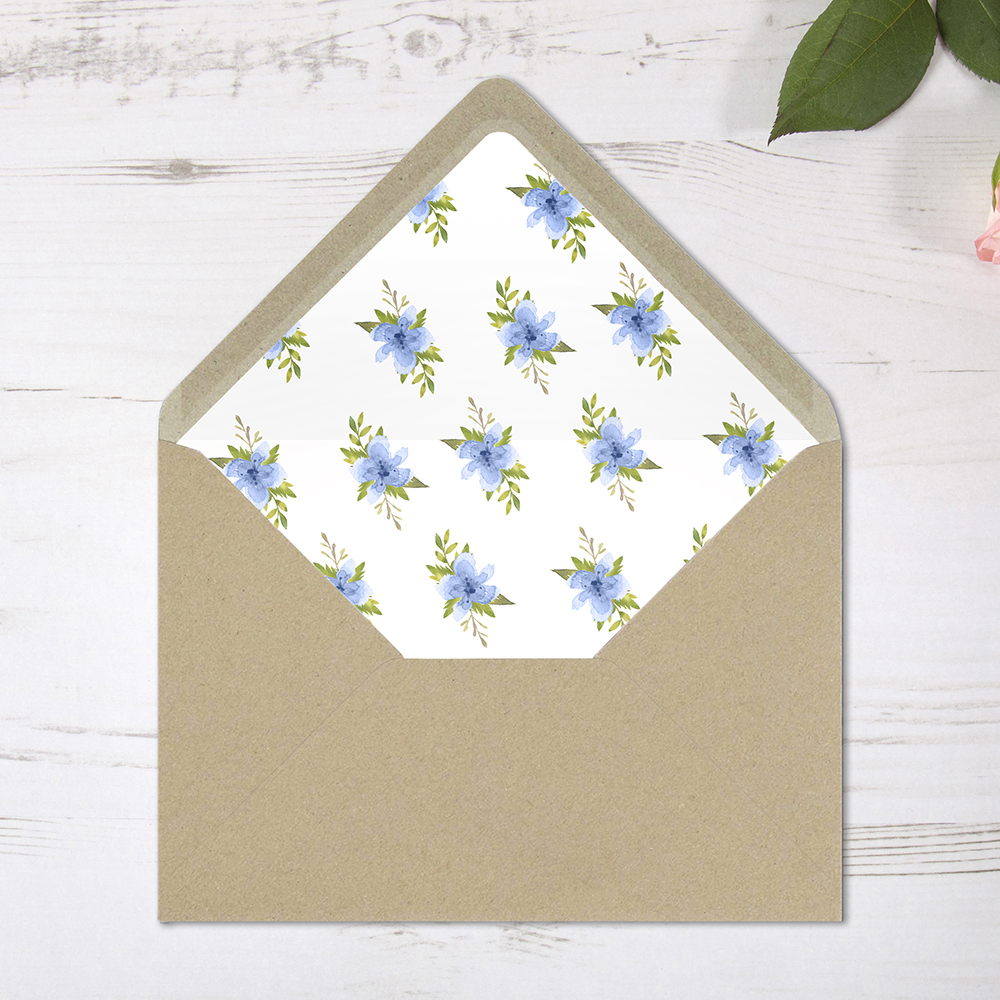 'Pretty in Blue' Printed Envelope Liner with Envelope
