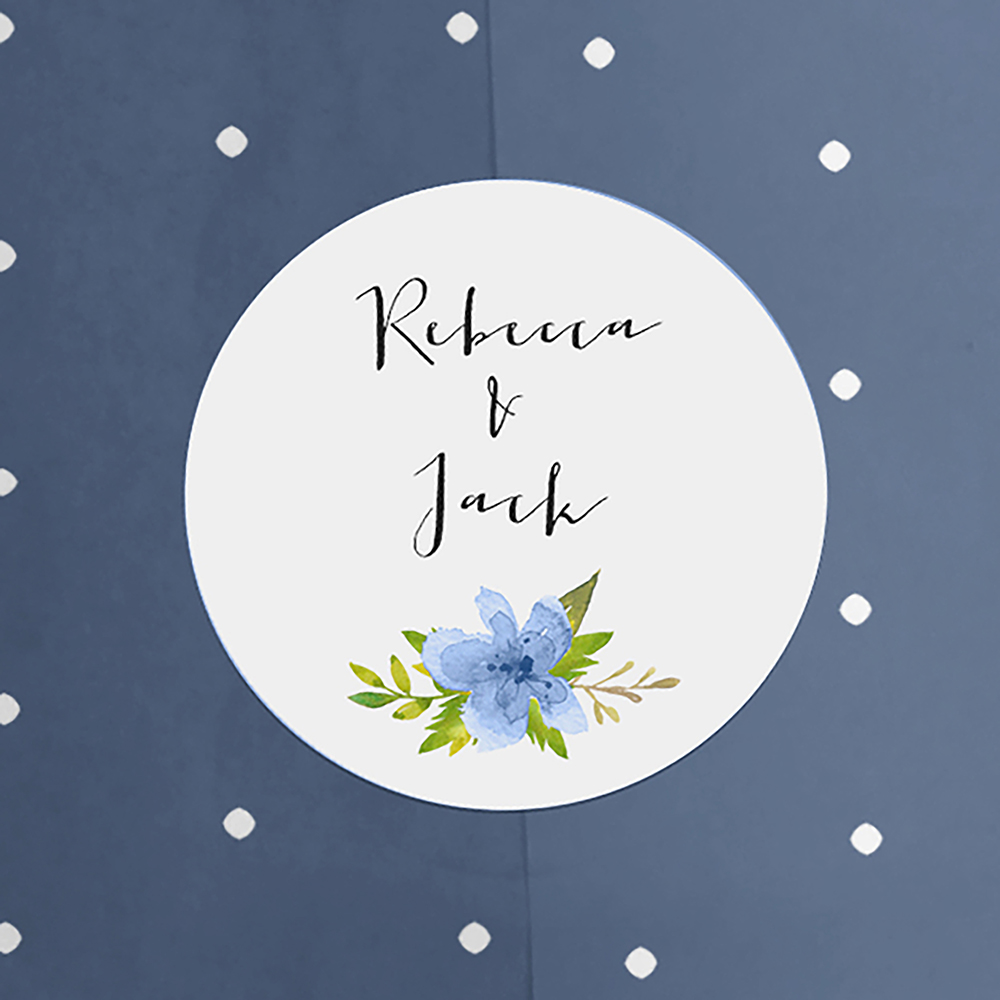 'Pretty in Blue' Hole-punched Save the Date Sample