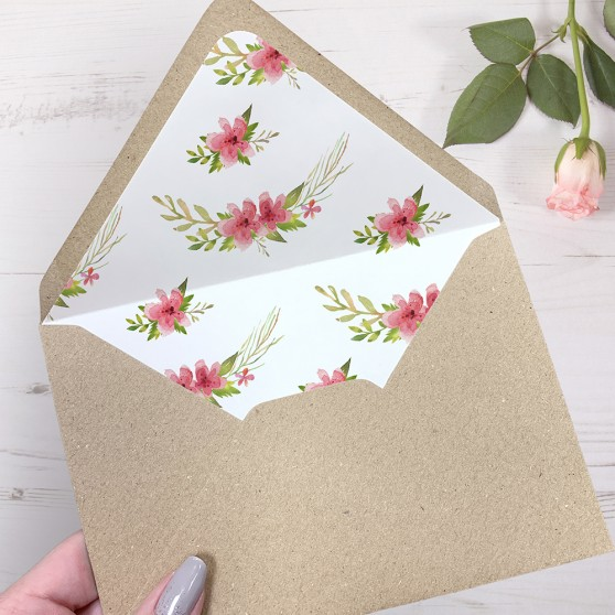 'Multi Floral' Printed Envelope Liner Sample with Envelope